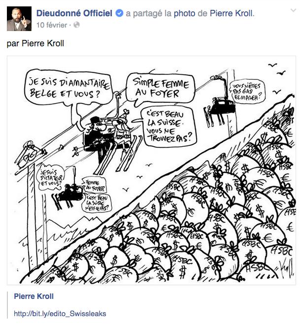 Un dessin précédent de Pierre Kroll mis par Dieudonné sur sa page Facebook, sans le moindre commentaire. La preuve qu'il y a bien un problème à identifier ethniquement une profession (surtout si elle est soupçonnée de fraude récurrente).