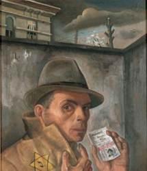 Felix Nussbaum († 1944 à Auschwitz): autoportrait avec passeport juif (1943).